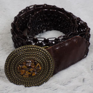 Leather Belt with stone detail on buckle